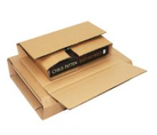 cardboard flat-packed book mailing box