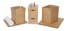 student moving boxes & kits with packing accessories