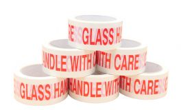 adhesive tape printed glass with care