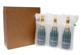 three bottle box with inflatable protective packaging