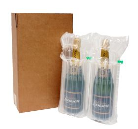 two bottle box with inflatable air cushioning bottle packaging