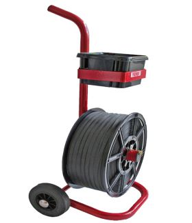 mobile strapping dispenser for strapping on plastic reel