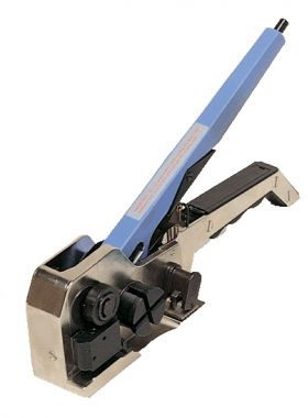 combination strapping tool for serrated seals